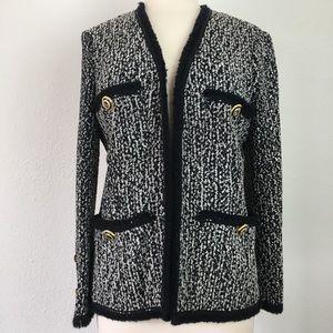 EUC St. John black & white jacket w/ SJ buttons